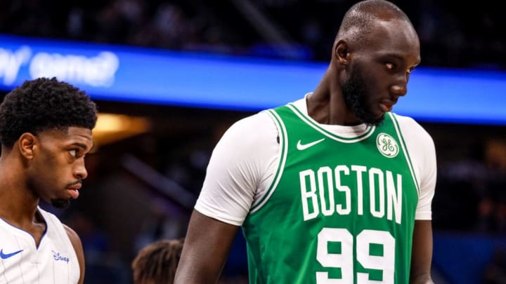 ORLANDO, FLORIDA - OCTOBER 11: Tacko Fall #99 of the Boston Celtics on the court against the Orlando Magic in the 4th quarter at Amway Center on October 11, 2019 in Orlando, Florida. NOTE TO USER: User expressly acknowledges and agrees that, by downloading and or using this photograph, User is consenting to the terms and conditions of the Getty Images License Agreement. (Photo by Harry Aaron/Getty Images)