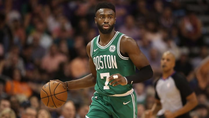 PHOENIX, AZ - NOVEMBER 08:  Jaylen Brown #7 of the Boston Celtics handles the ball during the NBA game against the Phoenix Suns at Talking Stick Resort Arena on November 8, 2018 in Phoenix, Arizona. The Celtics defeated the Suns 116-109 in overtime.  NOTE TO USER: User expressly acknowledges and agrees that, by downloading and or using this photograph, User is consenting to the terms and conditions of the Getty Images License Agreement.  (Photo by Christian Petersen/Getty Images)