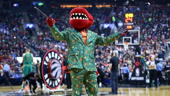 Raptors mascot in Christmas gear