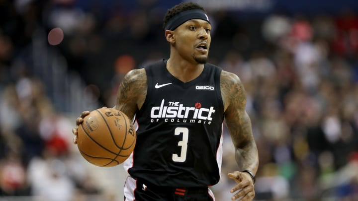WASHINGTON, DC - APRIL 09: Bradley Beal #3 of the Washington Wizards dribbles the ball against the Boston Celtics in the first half at Capital One Arena on April 09, 2019 in Washington, DC. NOTE TO USER: User expressly acknowledges and agrees that, by downloading and or using this photograph, User is consenting to the terms and conditions of the Getty Images License Agreement. (Photo by Rob Carr/Getty Images)