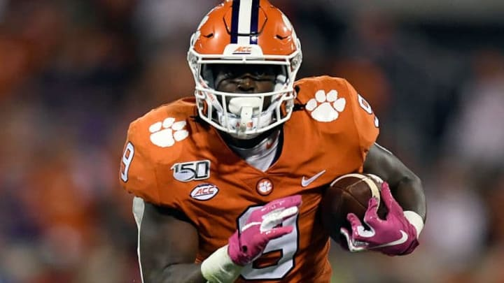 CLEMSON, SOUTH CAROLINA - OCTOBER 26: Running back Travis Etienne #9 of the Clemson Tigers runs the football against the Boston College Eagles during their football game at Memorial Stadium on October 26, 2019 in Clemson, South Carolina. (Photo by Mike Comer/Getty Images)