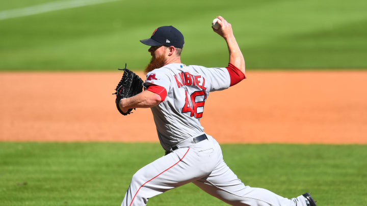 ATLANTA, GA - SEPTEMBER 3: Craig Kimbrel #46 of the Boston Red Sox throws a ninth inning pitch against the Atlanta Braves at SunTrust Park on September 3, 2018 in Atlanta, Georgia. (Photo by Scott Cunningham/Getty Images)