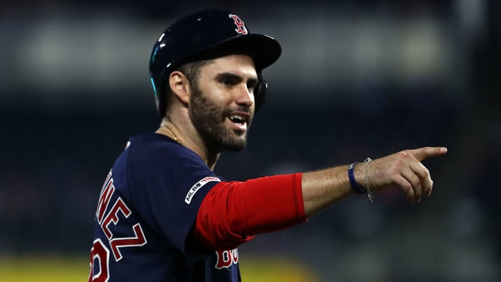KANSAS CITY, MISSOURI - JUNE 04:  J.D. Martinez #28 of the Boston Red Sox reacts after hitting a triple during the 6th inning of the game against the Kansas City Royals at Kauffman Stadium on June 04, 2019 in Kansas City, Missouri. (Photo by Jamie Squire/Getty Images)