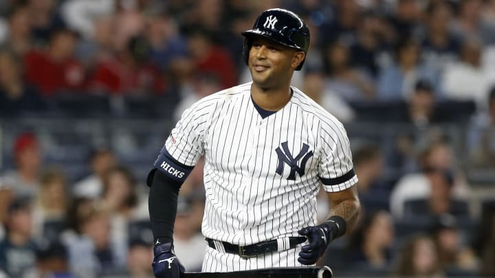 NEW YORK, NEW YORK - AUGUST 02:   Aaron Hicks #31 of the New York Yankees in action against the Boston Red Sox at Yankee Stadium on August 02, 2019 in New York City. The Yankees defeated the Red Sox 4-2. (Photo by Jim McIsaac/Getty Images)