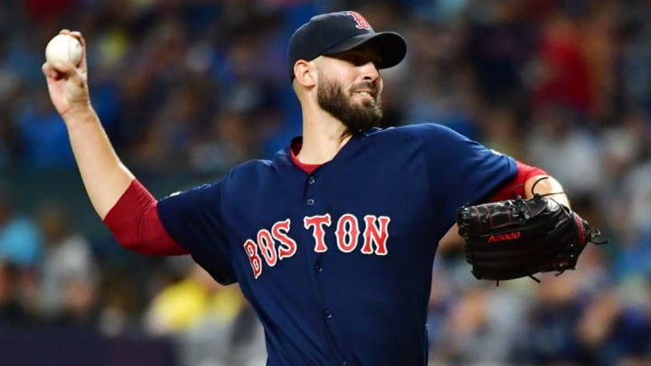 ST PETERSBURG, FLORIDA - SEPTEMBER 20: Rick Porcello #22 of the Boston Red Sox pitches to the Tampa Bay Rays during the first inning of a baseball game at Tropicana Field on September 20, 2019 in St Petersburg, Florida. (Photo by Julio Aguilar/Getty Images)