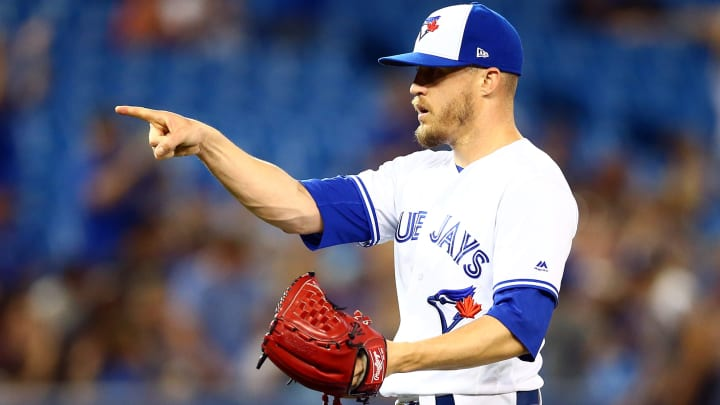TORONTO, ON - JULY 03:  Ken Giles #51 of the Toronto Blue Jays reacts after the final out a MLB game against the Boston Red Sox at Rogers Centre on July 03, 2019 in Toronto, Canada.  (Photo by Vaughn Ridley/Getty Images)
