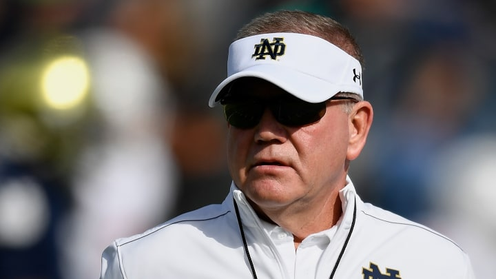Notre Dame Head Coach Brian Kelly's Fighting Irish are 9.5-point favorites on the road at Florida State to start the season.