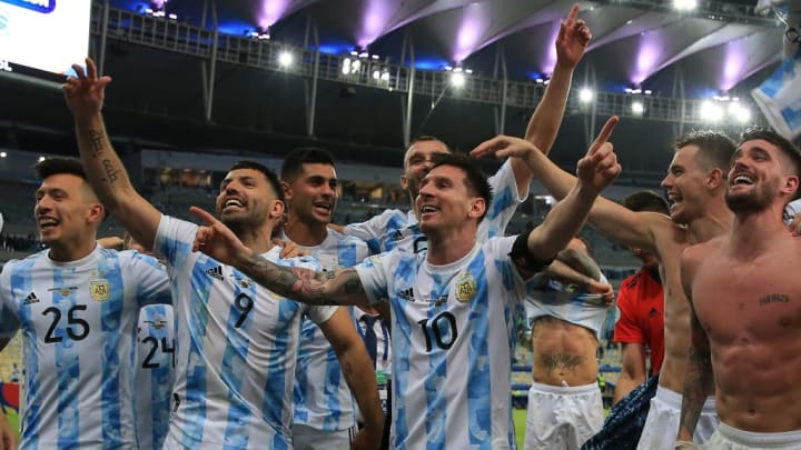 Lionel Messi, Sergio Agüero, Rodrigo De Paul, Giovani Lo Celso Argentina Brasil Copa América