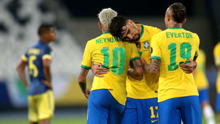 Neymar Jr, Lucas Paqueta, Everton Cebolinha Brasil Chile Copa América Palpites