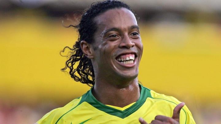 Brazilian Ronaldinho Gaucho celebrates a
