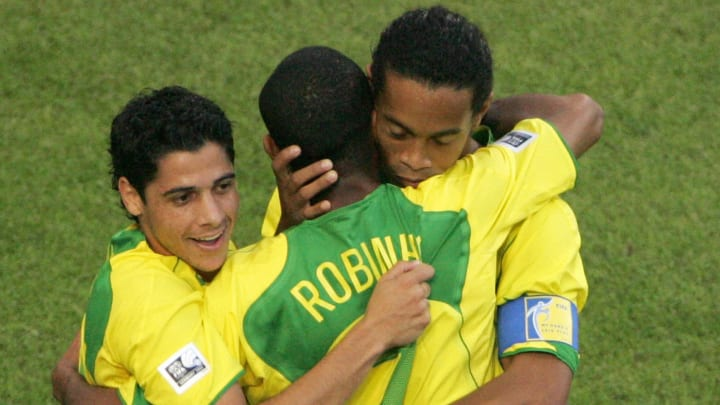 Brazilian forward Robinho (C) is congrat