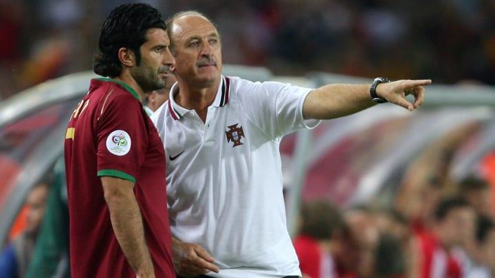 Figo e Felipão foram parceiros na seleção portuguesa