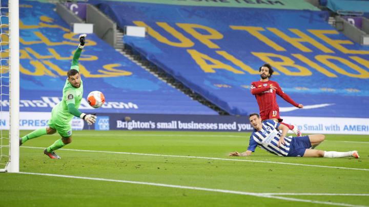 Mohamed Salah scoring the opening goal of the game
