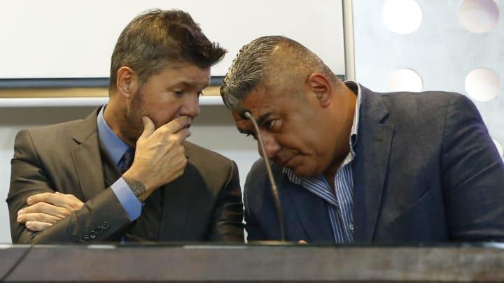 Marcelo Tinelli y Claudio Tapia, presidentes de la Liga Profesional y AFA, respectivamente.