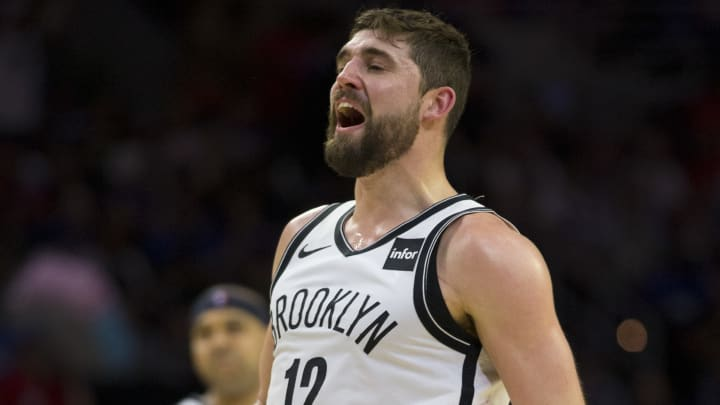 PHILADELPHIA, PA - APRIL 23: Joe Harris #12 of the Brooklyn Nets reacts after missing a basket against the Philadelphia 76ers in the second quarter of Game Five of Round One of the 2019 NBA Playoffs at the Wells Fargo Center on April 23, 2019 in Philadelphia, Pennsylvania. NOTE TO USER: User expressly acknowledges and agrees that, by downloading and or using this photograph, User is consenting to the terms and conditions of the Getty Images License Agreement. (Photo by Mitchell Leff/Getty Images)