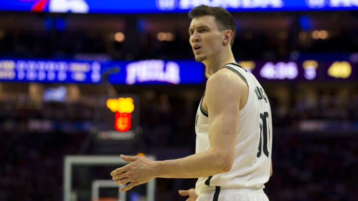 PHILADELPHIA, PA - APRIL 23: Rodions Kurucs #00 of the Brooklyn Nets reacts against the Philadelphia 76ers in Game Five of Round One of the 2019 NBA Playoffs at the Wells Fargo Center on April 23, 2019 in Philadelphia, Pennsylvania. NOTE TO USER: User expressly acknowledges and agrees that, by downloading and or using this photograph, User is consenting to the terms and conditions of the Getty Images License Agreement. (Photo by Mitchell Leff/Getty Images)