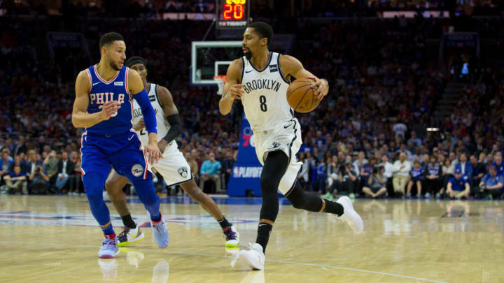 PHILADELPHIA, PA - APRIL 23: Spencer Dinwiddie #8 of the Brooklyn Nets drives to the basket against Ben Simmons #25 of the Philadelphia 76ers in Game Five of Round One of the 2019 NBA Playoffs at the Wells Fargo Center on April 23, 2019 in Philadelphia, Pennsylvania. NOTE TO USER: User expressly acknowledges and agrees that, by downloading and or using this photograph, User is consenting to the terms and conditions of the Getty Images License Agreement. (Photo by Mitchell Leff/Getty Images)