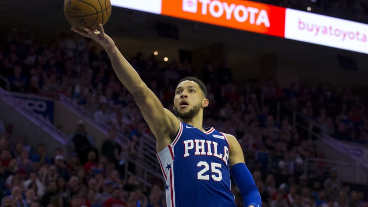PHILADELPHIA, PA - APRIL 23: Ben Simmons #25 of the Philadelphia 76ers attempts a layup past Spencer Dinwiddie #8 of the Brooklyn Nets in Game Five of Round One of the 2019 NBA Playoffs at the Wells Fargo Center on April 23, 2019 in Philadelphia, Pennsylvania. NOTE TO USER: User expressly acknowledges and agrees that, by downloading and or using this photograph, User is consenting to the terms and conditions of the Getty Images License Agreement. (Photo by Mitchell Leff/Getty Images)