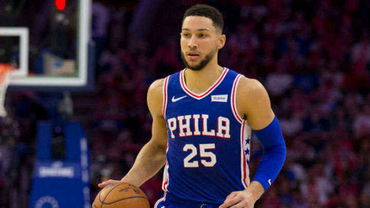 PHILADELPHIA, PA - APRIL 23: Ben Simmons #25 of the Philadelphia 76ers dribbles the ball against the Brooklyn Nets in Game Five of Round One of the 2019 NBA Playoffs at the Wells Fargo Center on April 23, 2019 in Philadelphia, Pennsylvania. NOTE TO USER: User expressly acknowledges and agrees that, by downloading and or using this photograph, User is consenting to the terms and conditions of the Getty Images License Agreement. (Photo by Mitchell Leff/Getty Images)