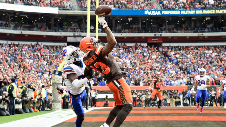 CLEVELAND, OHIO - NOVEMBER 10: Cornerback Tre'Davious White #27 of the Buffalo Bills guards wide receiver Odell Beckham #13 of the Cleveland Browns as he drops the ball during the first half at FirstEnergy Stadium on November 10, 2019 in Cleveland, Ohio. (Photo by Jason Miller/Getty Images)