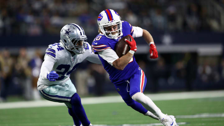 ARLINGTON, TEXAS - NOVEMBER 28:  Cole Beasley #10 of the Buffalo Bills runs the ball against Chidobe Awuzie #24 of the Dallas Cowboys in the second half at AT&T Stadium on November 28, 2019 in Arlington, Texas. (Photo by Ronald Martinez/Getty Images)