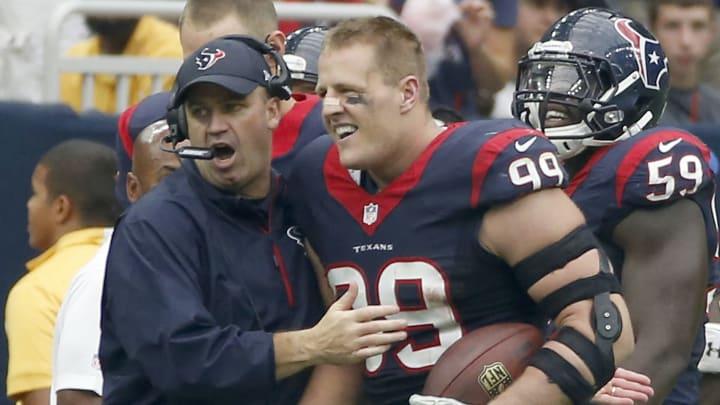Bill O'Brien and J.J. Watt, Buffalo Bills v Houston Texans