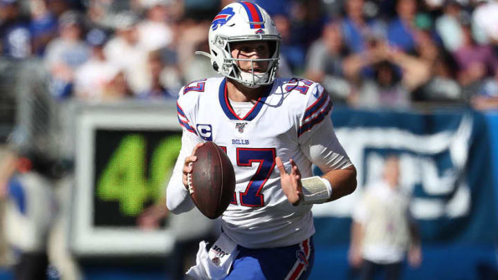 EAST RUTHERFORD, NEW JERSEY - SEPTEMBER 15:  Josh Allen #17 of the Buffalo Bills passes against the New York Giants during their game at MetLife Stadium on September 15, 2019 in East Rutherford, New Jersey. (Photo by Al Bello/Getty Images)