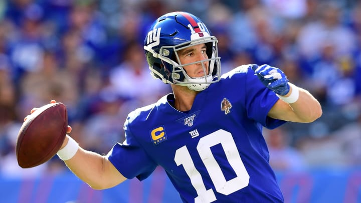 EAST RUTHERFORD, NEW JERSEY - SEPTEMBER 15: Eli Manning #10 of the New York Giants makes a pass during their game against the Buffalo Bills at MetLife Stadium on September 15, 2019 in East Rutherford, New Jersey. (Photo by Emilee Chinn/Getty Images)