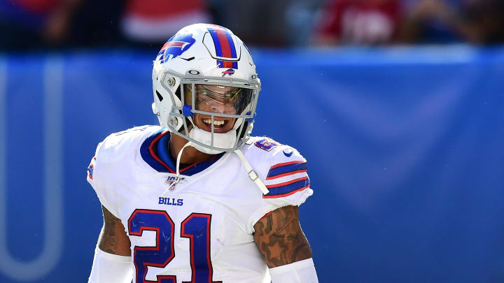 EAST RUTHERFORD, NEW JERSEY - SEPTEMBER 15: Jordan Poyer #21 of the Buffalo Bills smiles after the Buffalo Bills win over the New York Giants at MetLife Stadium on September 15, 2019 in East Rutherford, New Jersey. (Photo by Emilee Chinn/Getty Images)