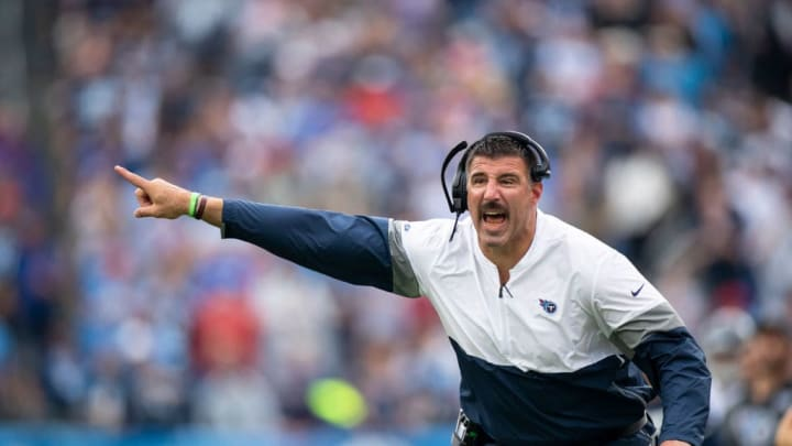 NASHVILLE, TN - OCTOBER 06:  Head coach Mike Vrabel of the Tennessee Titans yells to referees during the fourth quarter against the Buffalo Bills at Nissan Stadium on October 6, 2019 in Nashville, Tennessee. Buffalo defeats Tennessee 14-7.  (Photo by Brett Carlsen/Getty Images)