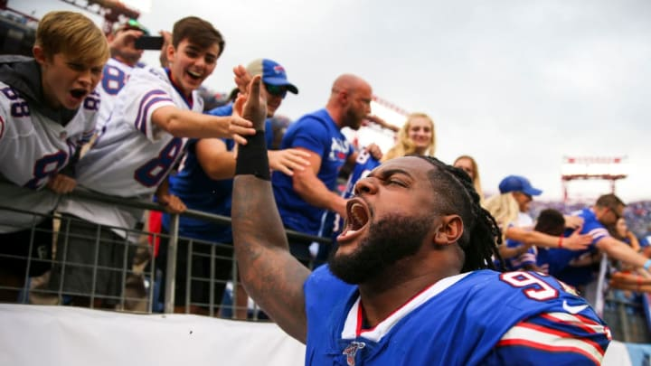 NASHVILLE, TENNESSEE - OCTOBER 06: Jordan Phillips #97 of the Buffalo Bills celebrates with fans after the game against the Tennessee Titans at Nissan Stadium on October 06, 2019 in Nashville, Tennessee. (Photo by Silas Walker/Getty Images)