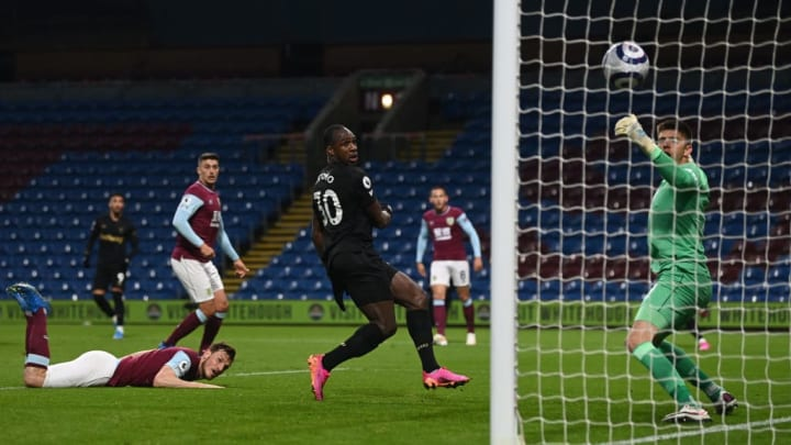Michail Antonio's header flies in