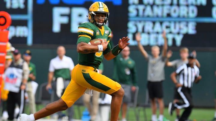 Trey Lance running.
