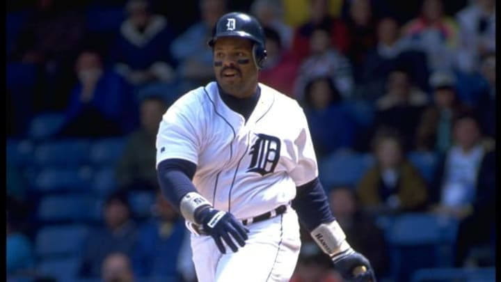 5 May 1992: DETROIT TIGERS FIRST BASEMAN CECIL FIELDER SWINGS AT A PITCH DURING THE TIGERS VERSUS CALIFORNIA ANGELS GAME AT TIGER STADIUM IN DETROIT, MICHIGAN.