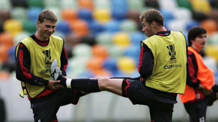 CSKA's Moskow defenders Alexei Berezutsk