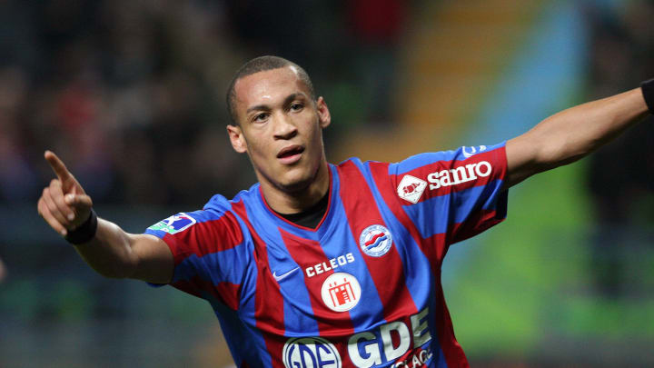 Caen's forward Yoan Gouffran jubilates a