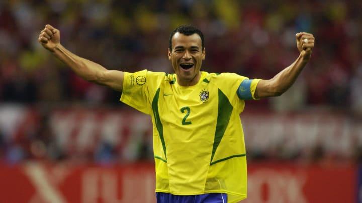 Cafu of Brazil celebrates victory