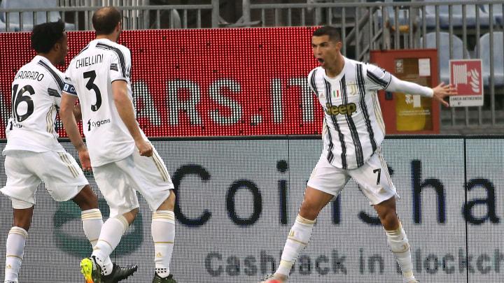 Cristiano Ronaldo celebrates his hat-trick against Cagliari on Sunday