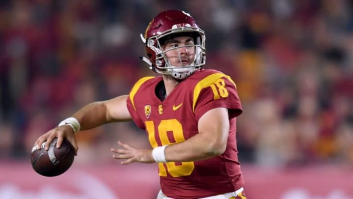 LOS ANGELES, CA - NOVEMBER 10:  JT Daniels #18 of the USC Trojans makes a pass during the second quarter against the California Golden Bears at Los Angeles Memorial Coliseum on November 10, 2018 in Los Angeles, California.  (Photo by Harry How/Getty Images)