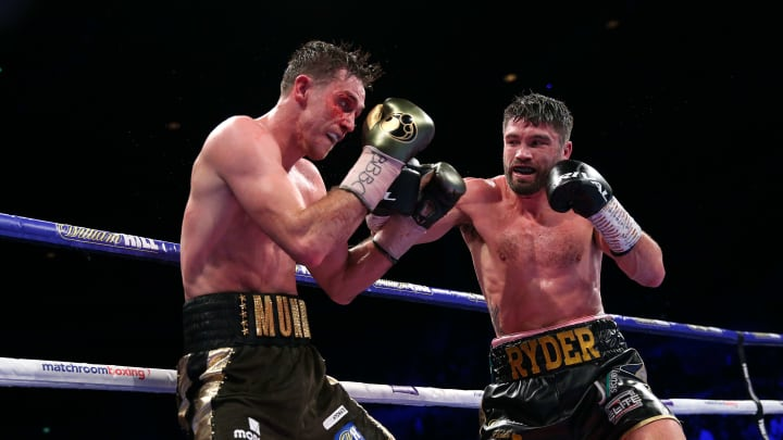 LIVERPOOL, ENGLAND - NOVEMBER 23:  John Ryder lands a right shot on Callum Smith during their WBA World, WBC Diamond & Ring Magazine Super-Middleweight Title Fight at M&S Bank Arena on November 23, 2019 in Liverpool, England. (Photo by Alex Livesey/Getty Images)