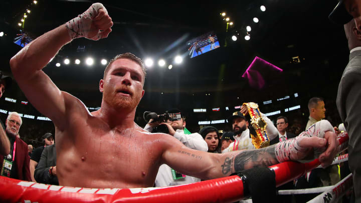 LAS VEGAS, NEVADA - MAY 04:  Canelo Alvarez celebrates after his unanimous decision win over Daniel Jacobs in their middleweight unification fightat T-Mobile Arena on May 04, 2019 in Las Vegas, Nevada. (Photo by Al Bello/Getty Images)