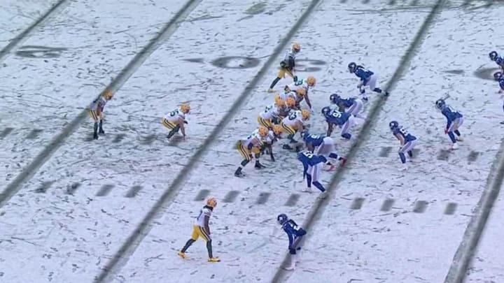 Cayó una nevada en el Giants vs. Packers