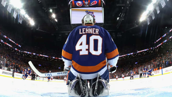 NEW YORK, NEW YORK - APRIL 28: Robin Lehner #40 of the New York Islanders prepares to play against the Carolina Hurricanes in Game Two of the Eastern Conference Second Round during the 2019 NHL Stanley Cup Playoffs at the Barclays Center on April 28, 2019 in the Brooklyn borough of New York City. The Hurricanes defeated the Islanders 2-1. (Photo by Bruce Bennett/Getty Images)