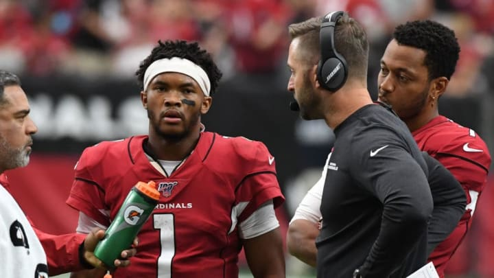 GLENDALE, ARIZONA - SEPTEMBER 22: Head coach Kliff Kingsbury of the Arizona Cardinals talks with Kyler Murray #1 on the sidelines during the second half of a game against the Carolina Panthers at State Farm Stadium on September 22, 2019 in Glendale, Arizona.Panthers won 38-20. (Photo by Norm Hall/Getty Images)