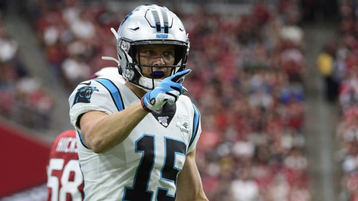 GLENDALE, ARIZONA - SEPTEMBER 22: Wide receiver Chris Hogan #15 of the Carolina Panthers reacts after a play in the first half of the NFL game against the Arizona Cardinals at State Farm Stadium on September 22, 2019 in Glendale, Arizona. (Photo by Jennifer Stewart/Getty Images)