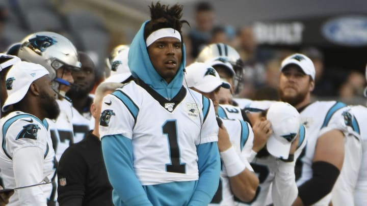 CHICAGO, ILLINOIS - AUGUST 08: Cam Newton #1 of the Carolina Panthers stands on the sidelines in the first half during a preseason game against the Chicago Bears at Soldier Field on August 08, 2019 in Chicago, Illinois. (Photo by David Banks/Getty Images)