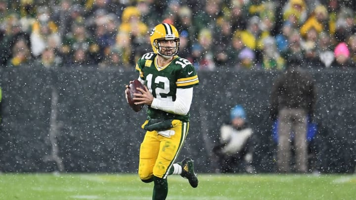 GREEN BAY, WISCONSIN - NOVEMBER 10:  Aaron Rodgers #12 of the Green Bay Packers looks to pass during a game against the Carolina Panthers at Lambeau Field on November 10, 2019 in Green Bay, Wisconsin. The Packers defeated the Panthers 24-16.   (Photo by Stacy Revere/Getty Images)