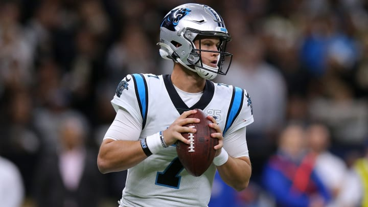 NEW ORLEANS, LOUISIANA - NOVEMBER 24: Kyle Allen #7 of the Carolina Panthers throws the ball during a game against the New Orleans Saints at the Mercedes Benz Superdome on November 24, 2019 in New Orleans, Louisiana. (Photo by Jonathan Bachman/Getty Images)