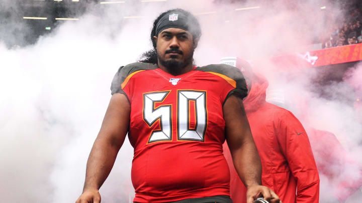 LONDON, ENGLAND - OCTOBER 13: Vita Vea of Tampa Bay Buccaneers walks out prior to the NFL match between the Carolina Panthers and Tampa Bay Buccaneers at Tottenham Hotspur Stadium on October 13, 2019 in London, England. (Photo by Alex Burstow/Getty Images)