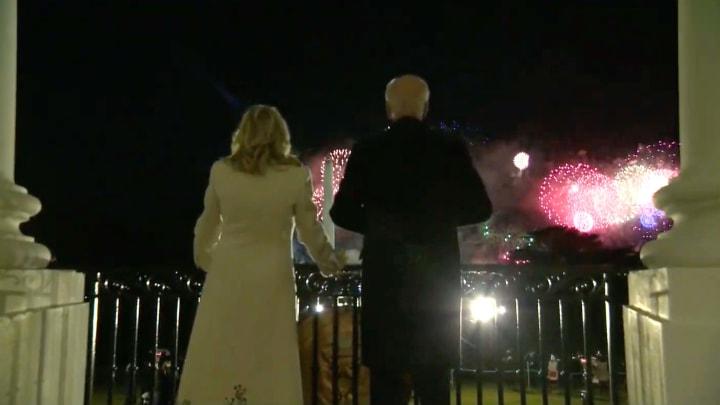 A shot of Dr. Jill Biden and her husband, President Joseph Robinette Biden, Jr. enjoying some fireworks from their new home.